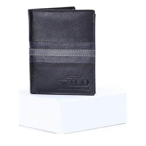 6118311863343 Czarno - granatowy skórzany portfel męski - Portfel Kliknij