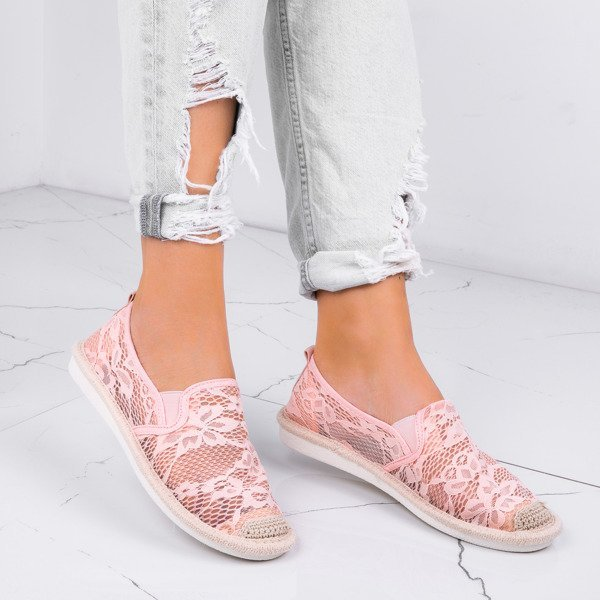 de8ff7263ce51 Różowe espadryle zdobione koronkowym materiałem Rose - Obuwie - Różowy    Royalfashion.pl - sklep z butami online