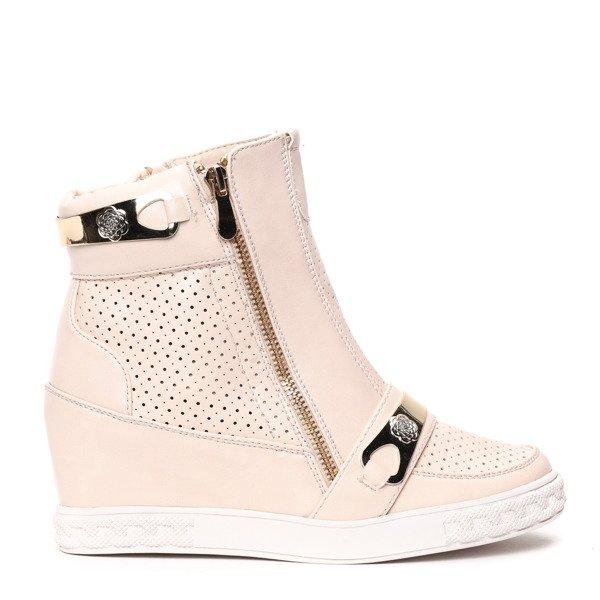 Beżowe sneakersy na koturnie Obuwie