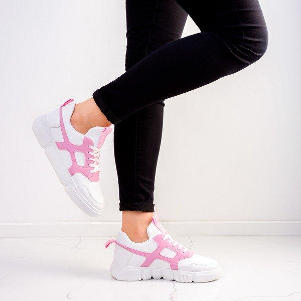 Białe buty sportowe z różowymi wstawkami Polerine Obuwie
