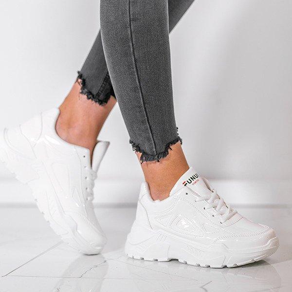 082adc249eee83 ... Białe lakierowane buty sportowe Holly- Obuwie Kliknij, aby powiększyć  ...