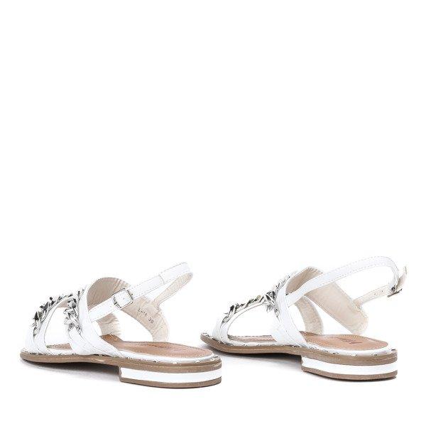 5f7f11ee Ze Biały Łańcuszkami Manuelita Srebrnymi Sandały Białe Obuwie Yybfv7gI6