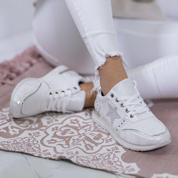 939bdc457032d Białe sportowe buty z ozdobną gwiazdką Stellan - Obuwie - Biały ...