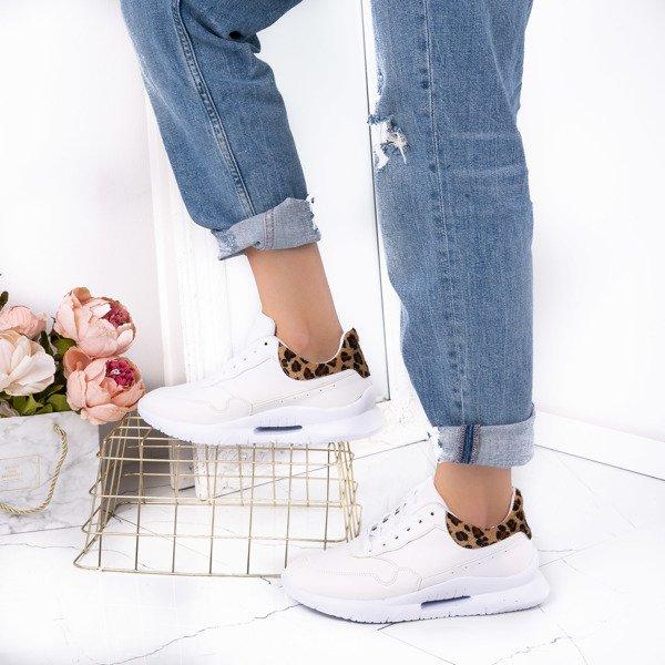 c73224bfe07ac Białe sportowe buty ze wstawką w panterkę Quinn - Obuwie Kliknij, aby  powiększyć ...