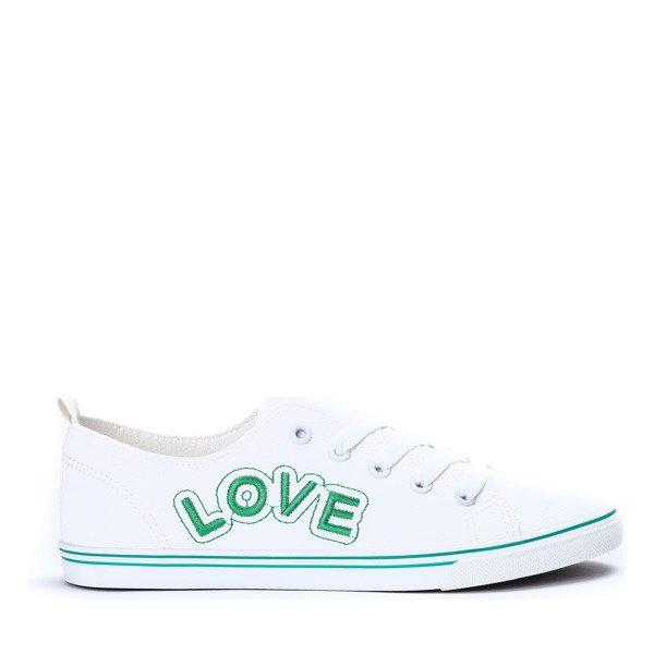 5b29c3ca98a74 ... Biało-zielone tenisówki Amy - Obuwie Kliknij, aby powiększyć ...