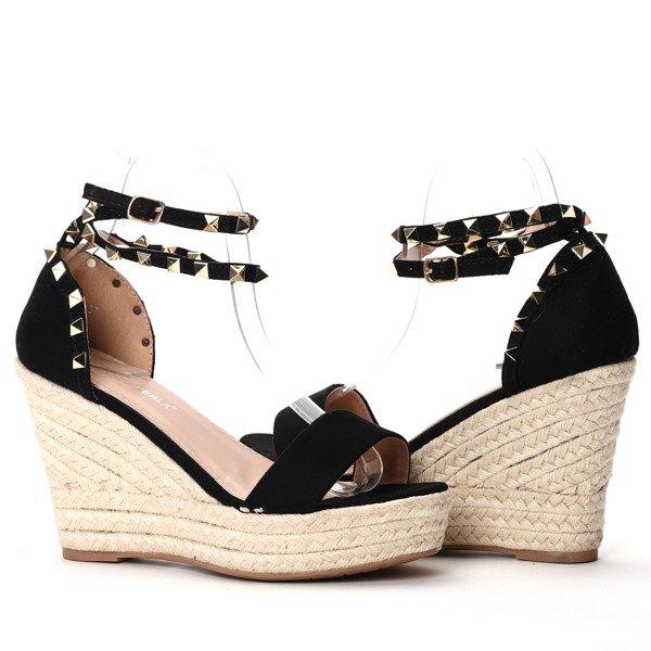 b1f4a943 ... Czarne sandałki na koturnie Kiss Touch - Obuwie Kliknij, aby powiększyć  ...
