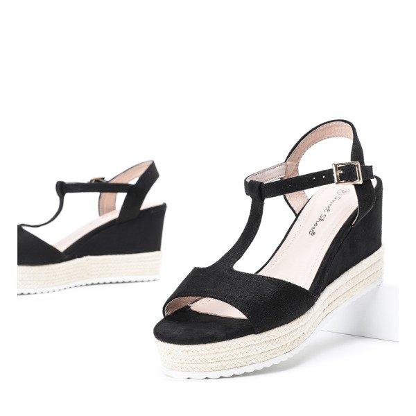 e9e6cc94ac9393 Czarne sandały na koturnie Sehiane - Obuwie Kliknij, aby powiększyć ...