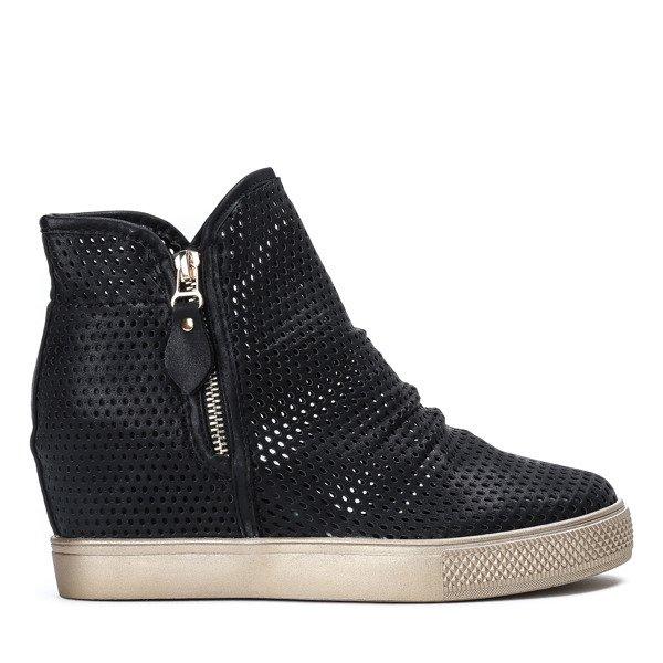 Czarne sneakersy na krytej koturnie z ażurowym wykończeniem Kalenia Obuwie