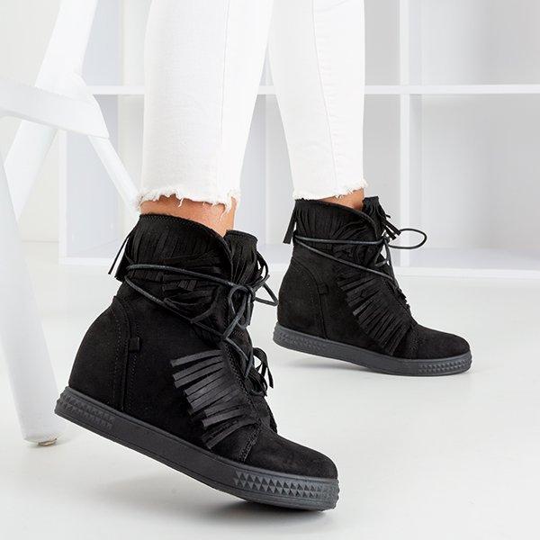Czarne Sneakersy Na Krytym Koturnie Z Fredzlami Murine Obuwie Czarny Royalfashion Pl Sklep Z Butami Online