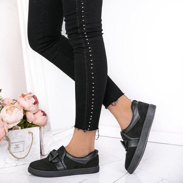 93fcda538aa41 Czarne, sportowe buty z kokardą Kristen - Obuwie Kliknij, aby powiększyć ...