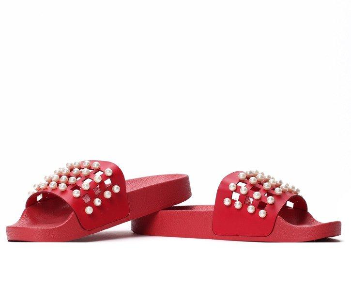 db928072b8ebe Czerwone klapki z perełkami Milam - Obuwie - Czerwony | Royalfashion ...