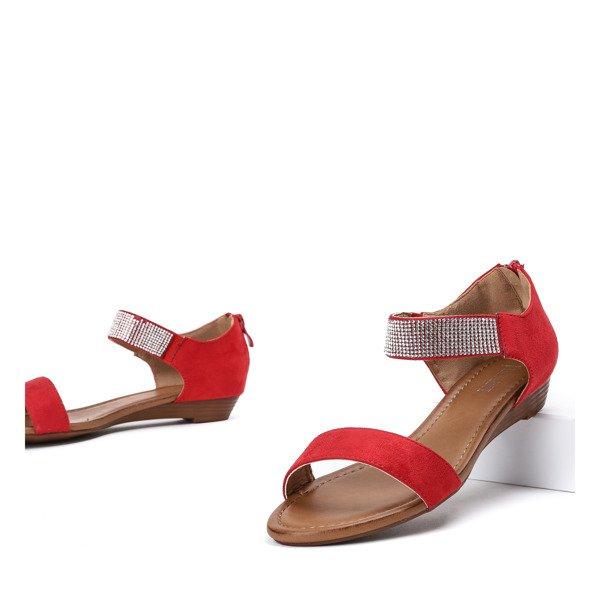 03a2308d ... Czerwone sandały na niskiej koturnie Acellia - Obuwie Kliknij, aby  powiększyć ...
