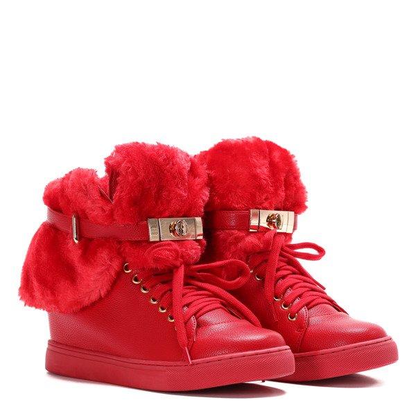 520cae19f88a51 Czerwone sneakersy z futerkiem na krytym koturnie LU BOO- Obuwie ...