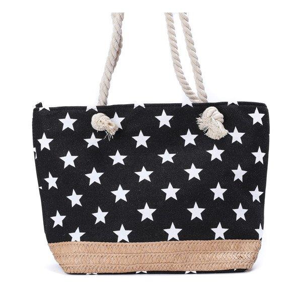 dbddbca042c72 Plażowa torba z gwiazdkami w kolorze czarnym - Torebki - Biały ...