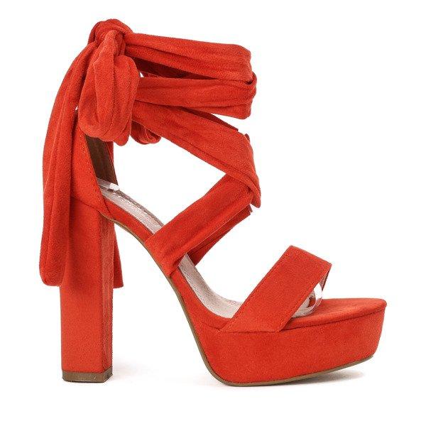 6189c52b7f537 ... Pomarańczowe sandały wiązane na wysokim słupku Molier - Obuwie Kliknij,  aby powiększyć ...