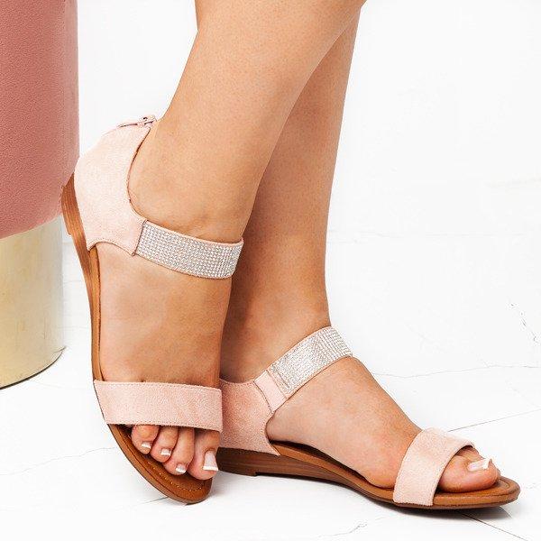 2fcf1af4 ... Różowe sandały na niskiej koturnie Acellia - Obuwie Kliknij, aby  powiększyć ...