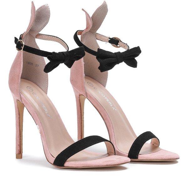 c032585a0721c3 ... Różowe sandały na szpilce z czarną kokardką i uszami Poppy - Obuwie  Kliknij, aby powiększyć ...