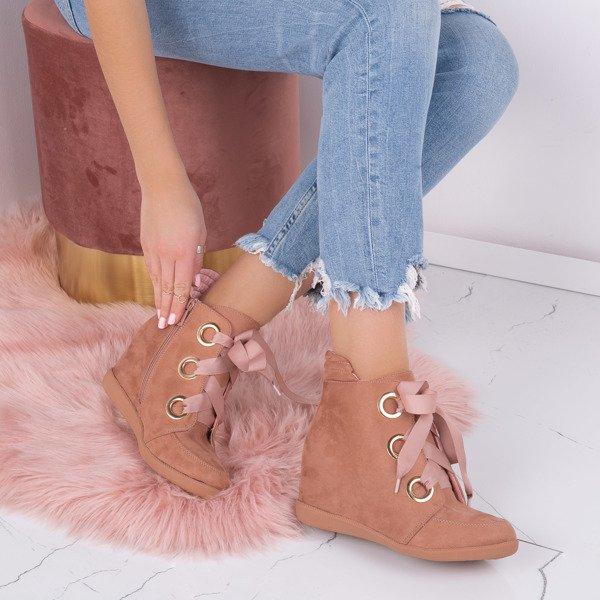 1c23ce8b1657f Różowe sneakersy na krytym koturnie wiązane wstążką Andi- Obuwie ...