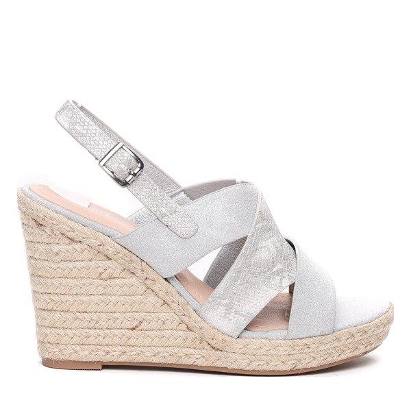 Szare sandały na koturnie Obuwie