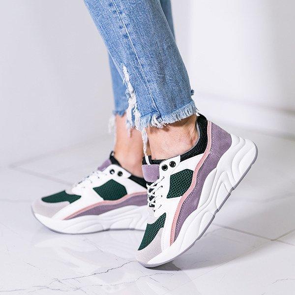 d898282bd2402 Zielone buty sportowe z kolorowymi wstawkami Osynea - Obuwie Kliknij, aby  powiększyć ...