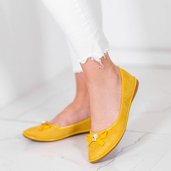 39f67163986837 Żółte baleriny z kokardką Braila - Obuwie - Żółty || Musztardowy ...