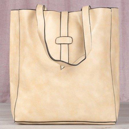 Beżowa duża torba damska na ramię - Torebki