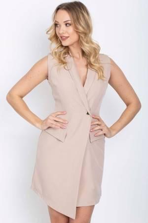 Beżowa sukienka - narzutka bez rękawów - Odzież