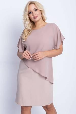 Beżowa sukienka przed kolano PLUS SIZE - Odzież