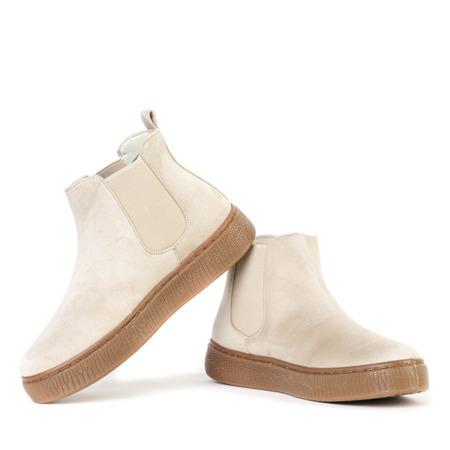 Beżowe botki na platformie Desida - Obuwie