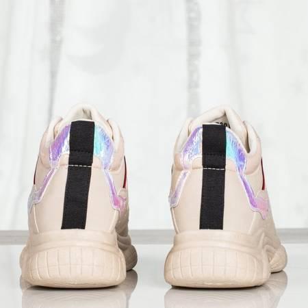 Beżowe buty sportowe z holograficznymi wstawkami Temptation - Obuwie