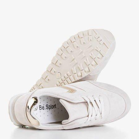 Beżowe eko-zamszowe buty sportowe Esteti - Obuwie