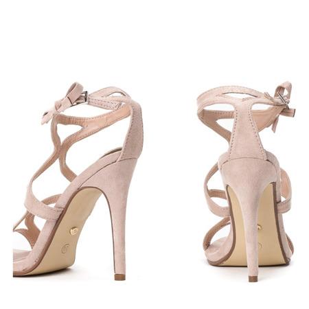 Beżowe sandały na szpilce Adalina - Obuwie