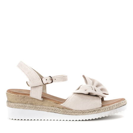 Beżowe sandały z kokardką na koturnie Marcola - Obuwie