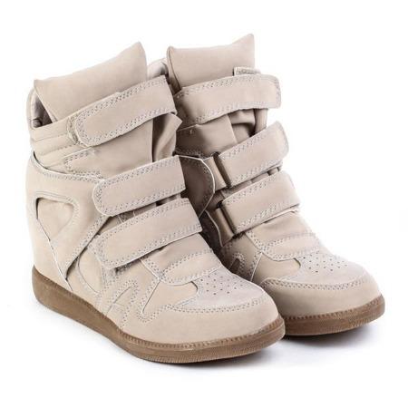 Beżowe sneakersy- kryty koturn Samin - Obuwie
