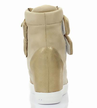 Beżowe sneakersy na koturnie Mea- Obuwie