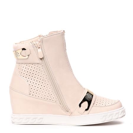 Beżowe sneakersy na koturnie- Obuwie
