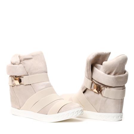 Beżowe sneakersy na krytym koturnie z ozdobnymi paskami Petiena - Obuwie