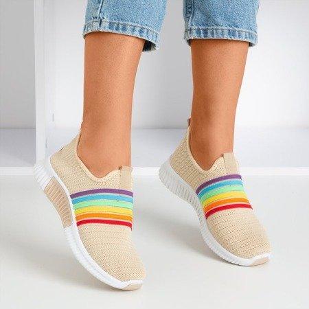 Beżowe sportowe buty damskie typu slip - on Rainbow - Obuwie