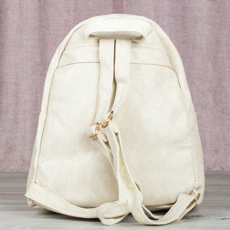 Beżowo - złoty pikowany plecak - Plecaki