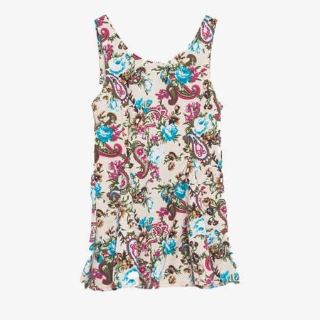 Beżowy top w kwiatki na ramiączka - Odzież