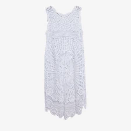 Biała ażurowa tunika z przedłużonym tyłem - Odzież