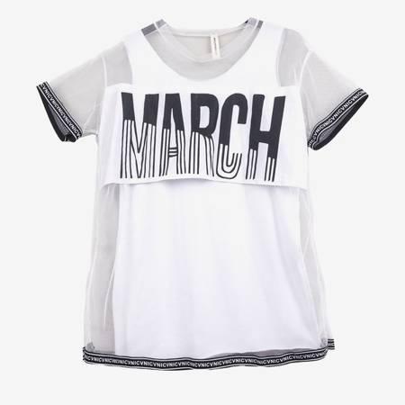 Biała bluzka siatkowa z napisem - Odzież
