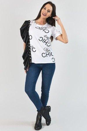 Biała bluzka w napisy z czarną falbaną - Odzież