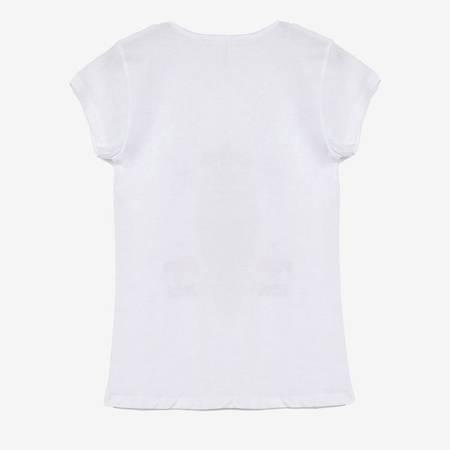 Biała damska koszulka z nadrukiem pieska - Odzież