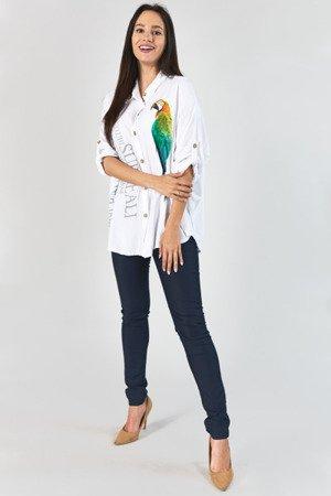 Biała koszula z printem - Odzież