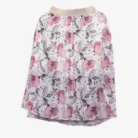 Biała plisowana spódnica midi z printem w kwiaty - Odzież