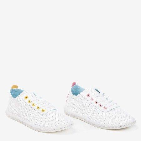 Białe ażurowe tenisówki z różową wstawką Jasenia - Obuwie