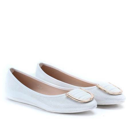 Białe baleriny z ozdobą - Obuwie