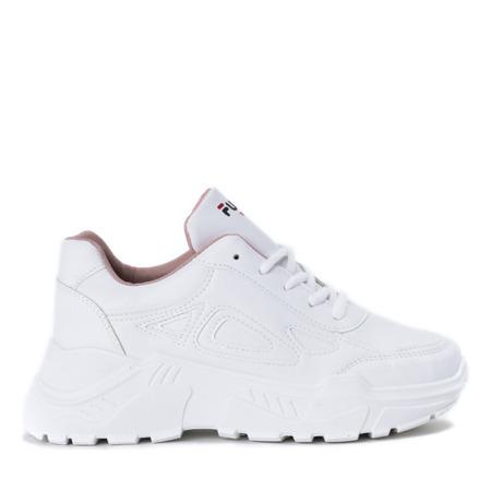 Białe buty sportowe na grubej podeszwie Holly- Obuwie