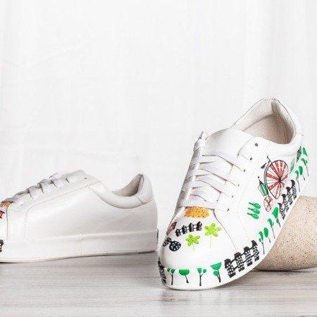Białe buty sportowe z kolorowym printem Judi - Obuwie
